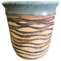 F. Carlton Ball Midcentury Signed Ceramic Pottery Turquoise Glazed Bowl Vase