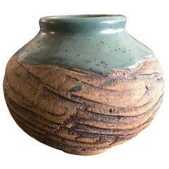 F. Carlton Ball Midcentury Signed Ceramic Pottery Turquoise Glazed Studio Vase
