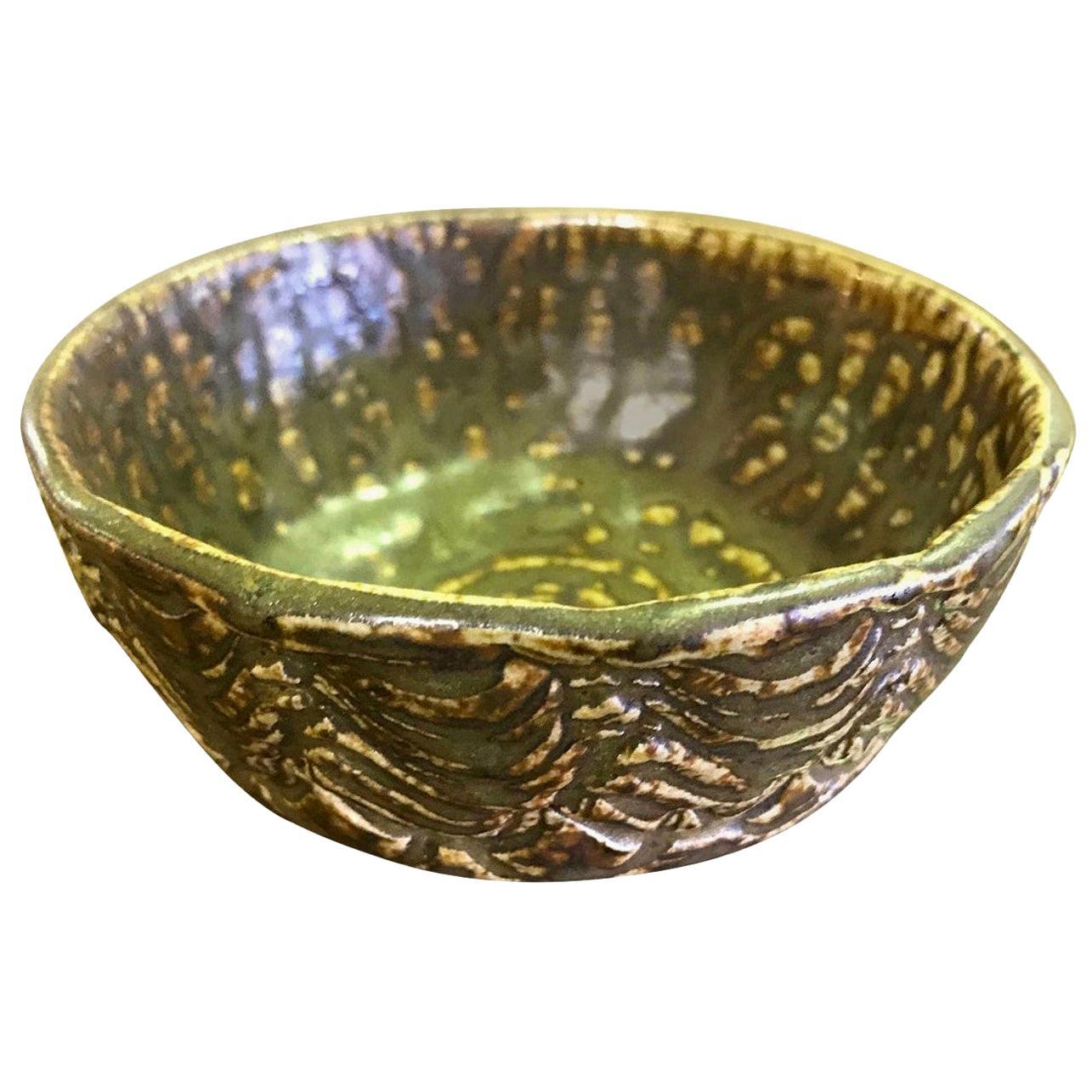 F. Carlton Ball Midcentury Signed Ceramic Pottery Glazed California Studio Bowl