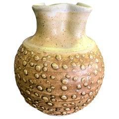 F. Carlton Ball Signed Midcentury Ceramic Pottery Glazed Studio Pinched Vase