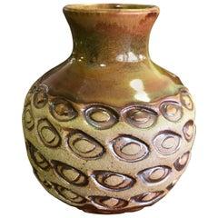 F. Carlton Ball Signed Midcentury Ceramic Pottery Patterned Glazed Studio Vase