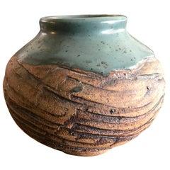 F. Carlton Ball Signed Midcentury Ceramic Pottery Turquoise Glazed Studio Vase
