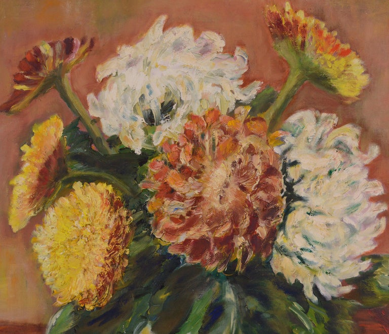 Mid Century Floral Still-Life  - American Impressionist Painting by F. Christensen