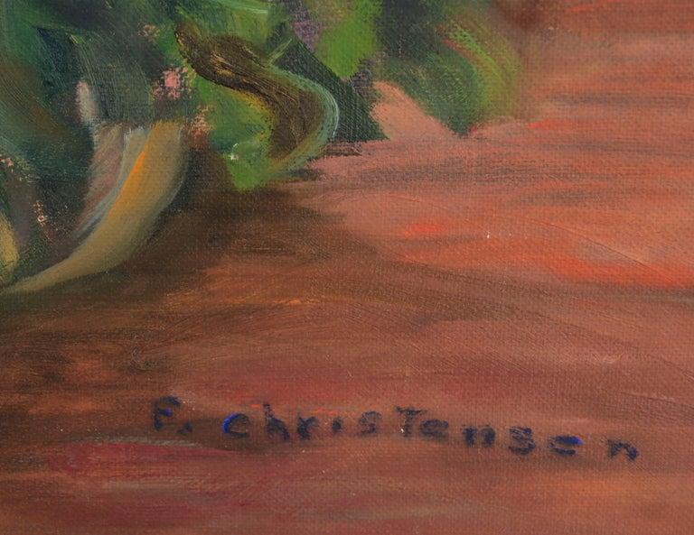 Mid Century Floral Still-Life  - Brown Still-Life Painting by F. Christensen