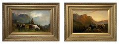 Oil Paintings, Pair of Scottish Highland Cattle Scenes