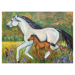 F. Gillotti 'Venerable' 2009 Horse and Foal Painting Acrylic on Stretched Canvas