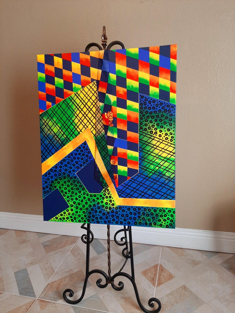 Geometric Collage, Abstract Painting For Sale 1