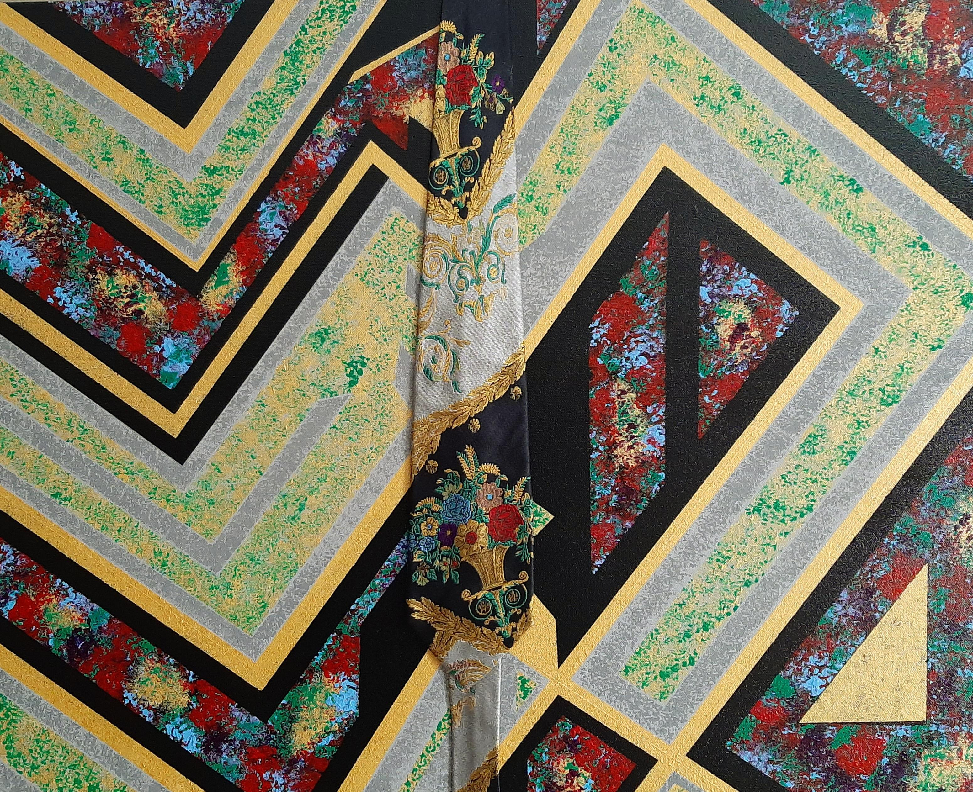Golden Bouquets, Abstract Painting