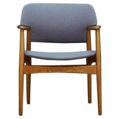 F. Hansen Armchair Danish Design Vintage Classic Gray 1960s Oak