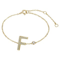 F-Initial Bezel Chain Anklet