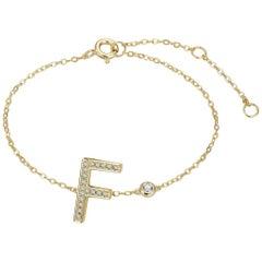 F Initial Bezel Chain Bracelet