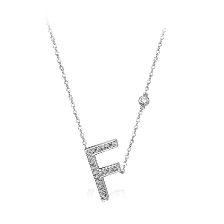 Modern F Initial Bezel Chain Necklace For Sale