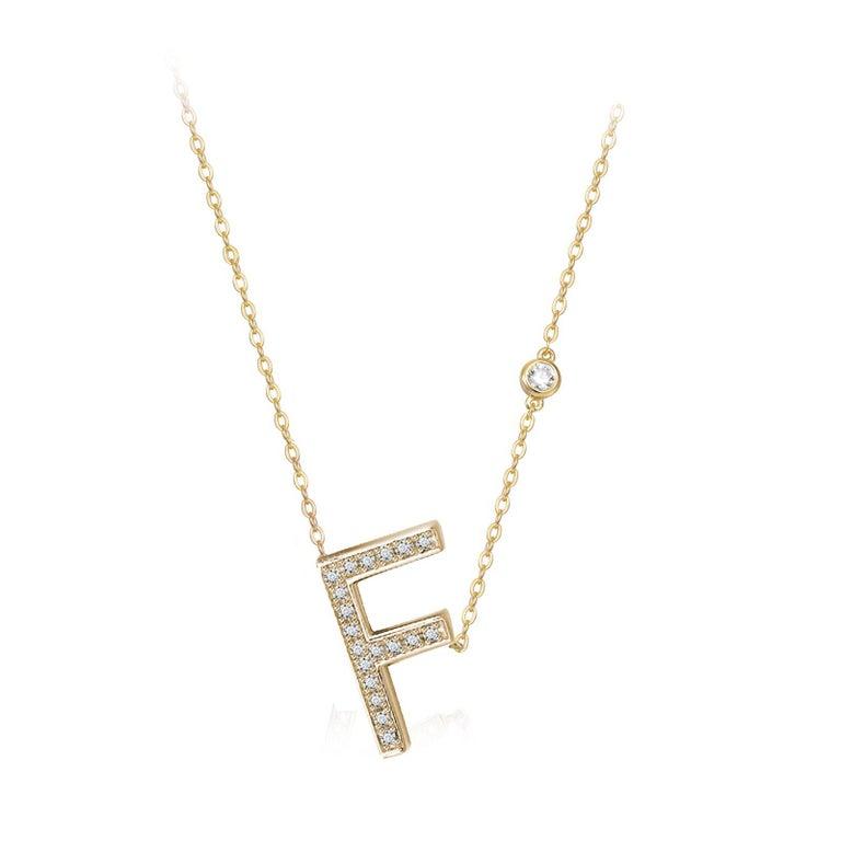 Trillion Cut F Initial Bezel Chain Necklace For Sale