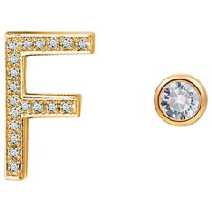 F Initial Bezel Mismatched Earrings