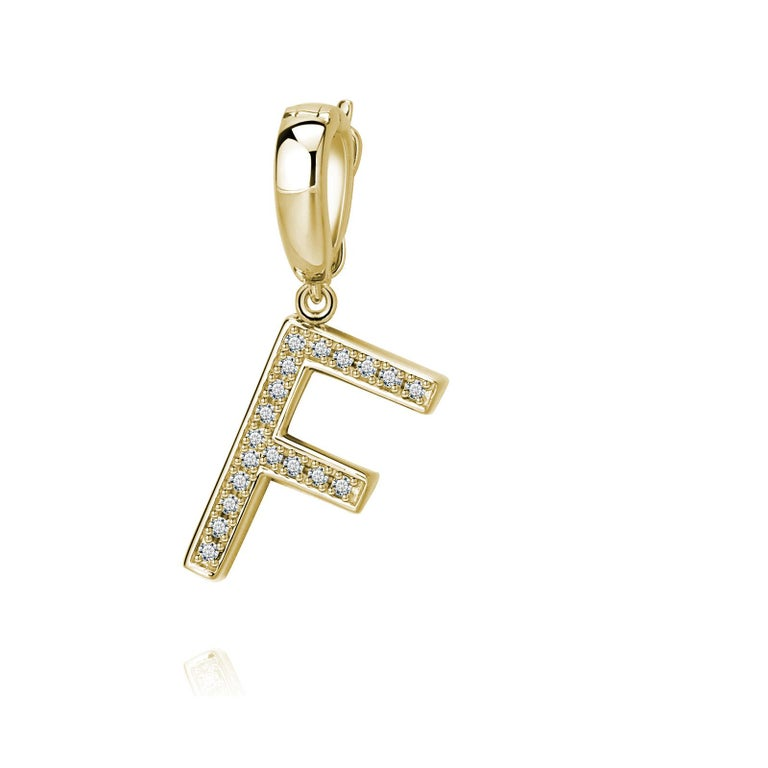 Trillion Cut F Initial Pendant or Charm For Sale
