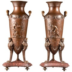 F. Levillain (1837-1905), F. Barbedienne, Foundry, pair Large Neo-Greek Amphora