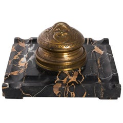 F. Levillian Signed French Bronze and Marble Inkwell