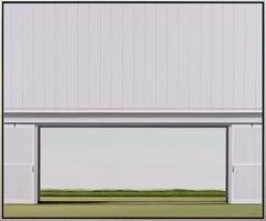 Outlook - minimalist, serene white, green, realist barn scene, acrylic on canvas