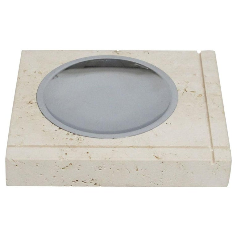 F. Lli Mannelli Ashtray, Travertine and Stainless Steel, Signed For Sale