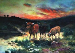 Landscape with Highland Cattle , evening sunset, original water colour on paper