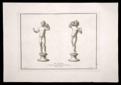 Ancient Roman Statues - Original Etching by F. Morghen - 18th Century