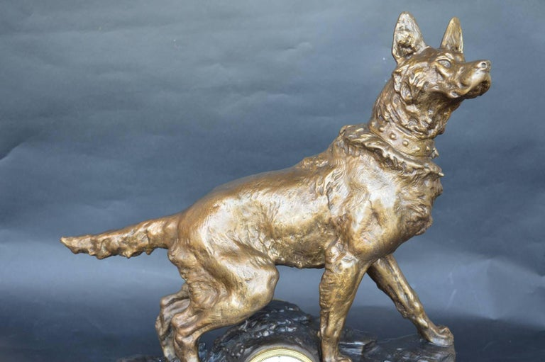 F. Pelissier French Bronze Shepherd Dog Statue Clock In Excellent Condition For Sale In Los Angeles, CA