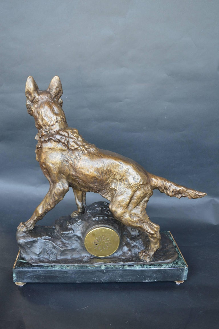 20th Century F. Pelissier French Bronze Shepherd Dog Statue Clock For Sale