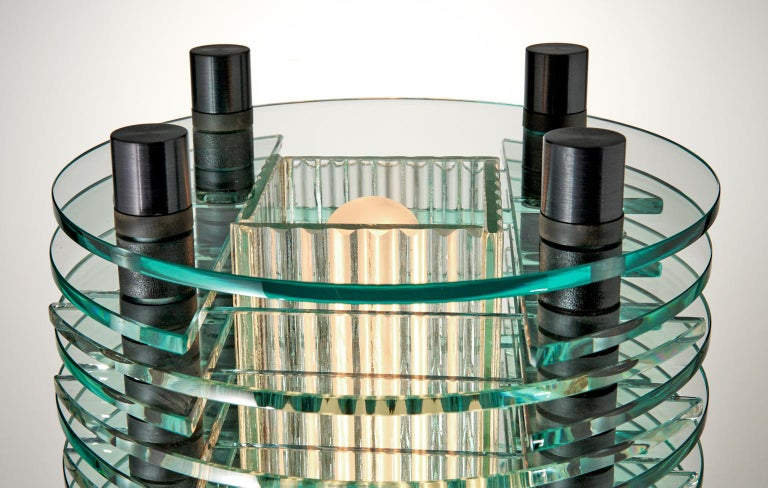 Modern Black and Clear Glass & Aluminum Tabletop Lamp For Sale
