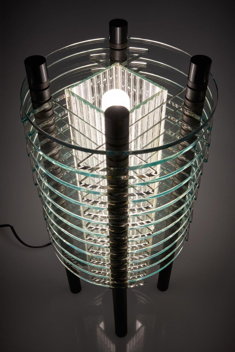 Anodized Black and Clear Glass & Aluminum Tabletop Lamp For Sale