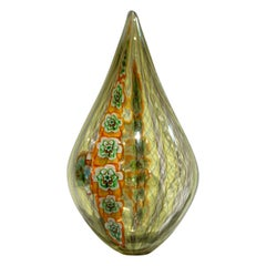 Tagliapietra Italian Modern Green Yellow Orange Murano Glass Drop Sculpture Vase