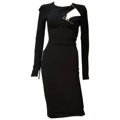 F/W 13 L#12 NEW VERSACE BLACK STRETCH COCTAIL DRESS with SILVER-TONE PINS 38 - 2