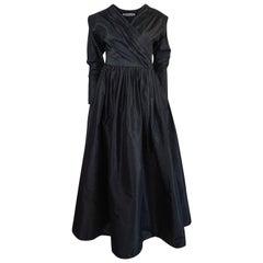 F/W 1986 Yves Saint Laurent Black Silk Taffeta Full Skirted Dress