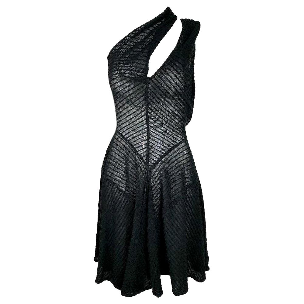 F/W 1988 Azzedine Alaia Runway Sheer Black Cut-Out or Cross Front Mini Dress