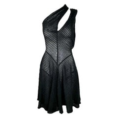 F/W 1988 Azzedine Alaia Runway Sheer Black Cut-Out or Cross Front Mini Dress