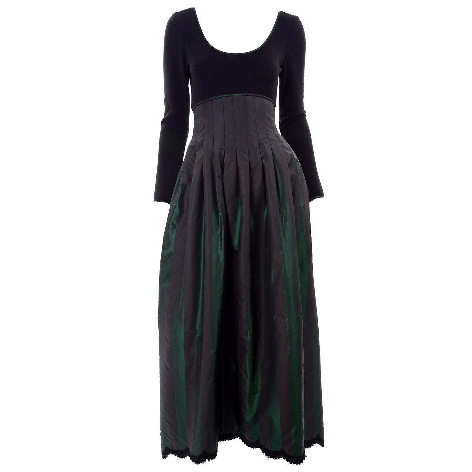 F/W 1989 Geoffrey Beene Black & Iridescent Green Stripe Evening Dress