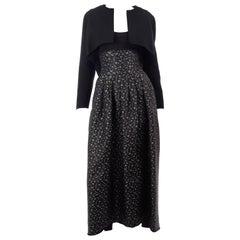 F/W 1989 Geoffrey Beene Silver Grey Black Floral Evening Dress & Bolero Jacket