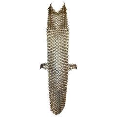 F/W 1990 Chanel Runway Gold Body Chain Jewelry Necklace & Black Mini Dress Set