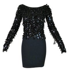 F/W 1990 Dolce & Gabbana Black Beaded Fringe Top & High Waist Mini Skirt