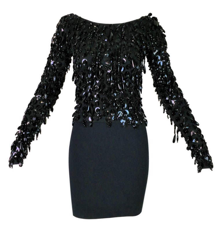 S/S 1990 Dolce & Gabbana Black Beaded Fringe Top & High Waist Mini Skirt For Sale