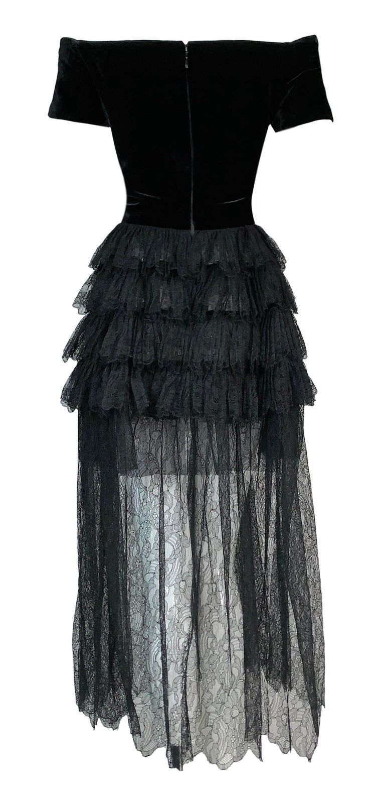 Black F/W 1991 Chanel Runway Off Shoulder Velvet & Lace Gown Dress For Sale