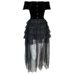 F/W 1991 Chanel Runway Off Shoulder Velvet & Lace Gown Dress