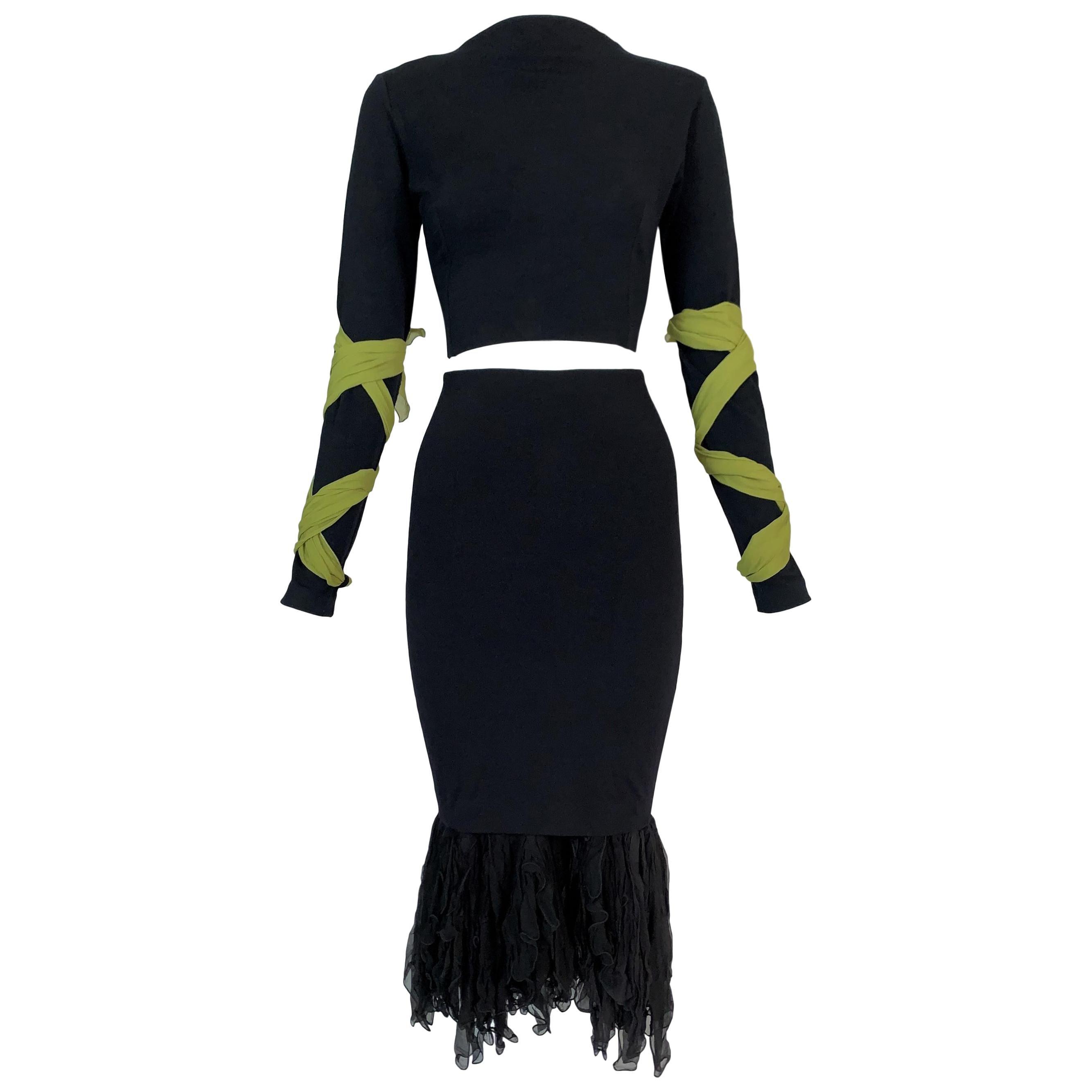 F/W 1991 Dolce & Gabbana Black Crop Top w Green Ties & High Waist Skirt