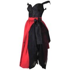 F/W 1992 Dolce & Gabbana Runway Victorian Corset & Long Red Crinoline Skirt