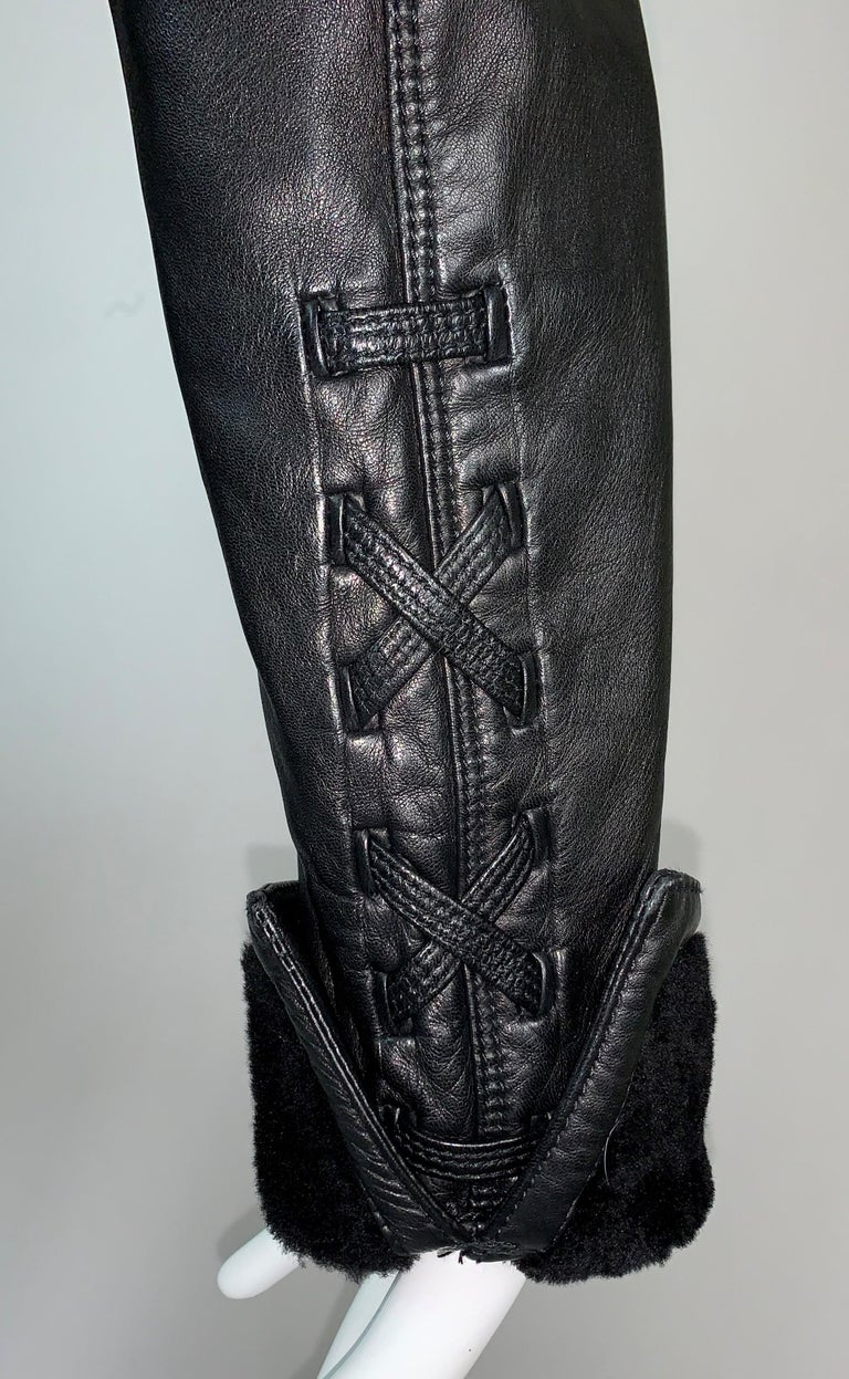 F/W 1993 Gianni Versace Black Leather Bondage Corset Sleeves Jacket Coat For Sale 1