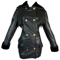 F/W 1993 Gianni Versace Black Leather Bondage Corset Sleeves Jacket Coat