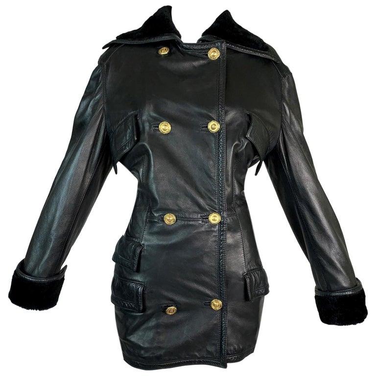 F/W 1993 Gianni Versace Black Leather Bondage Corset Sleeves Jacket Coat For Sale