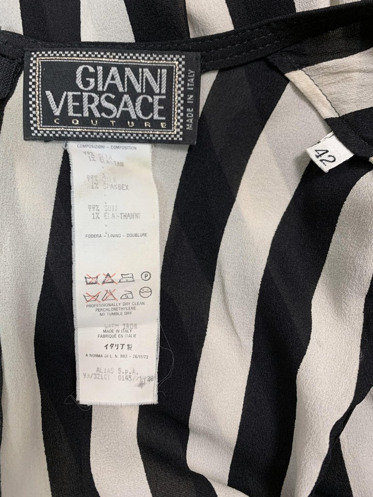 F/W 1993 Gianni Versace Black & White Vertical Stripes Sheer Silk Long Dress In Good Condition For Sale In Yukon, OK