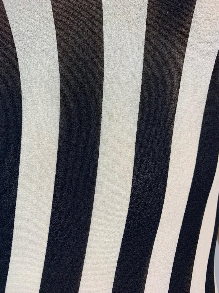 Women's F/W 1993 Gianni Versace Black & White Vertical Stripes Sheer Silk Long Dress For Sale