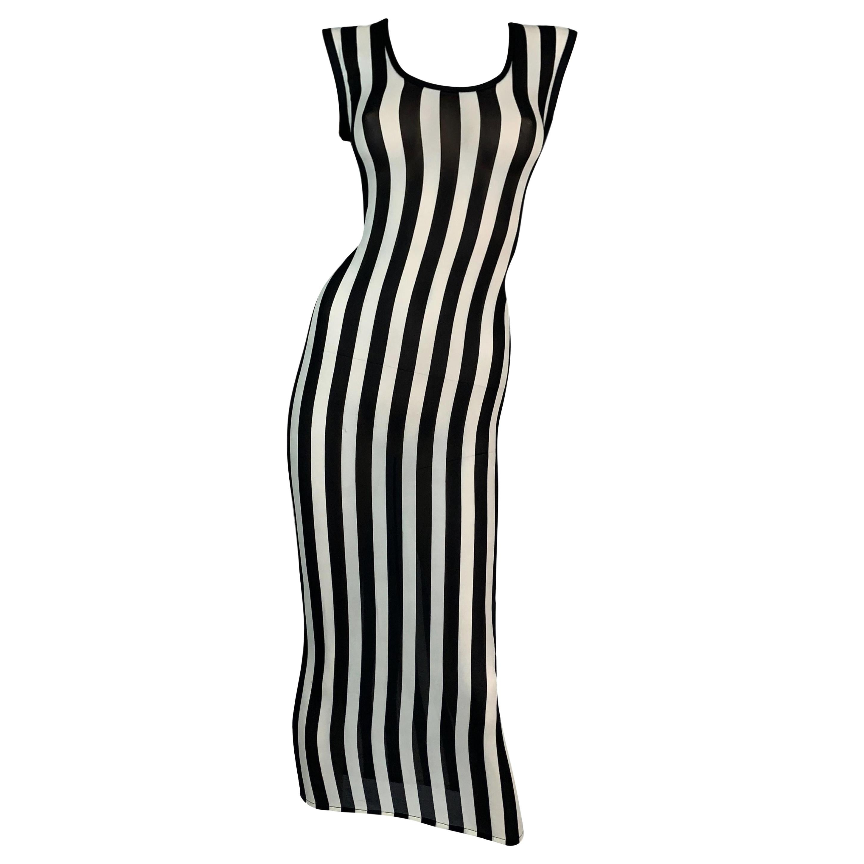 F/W 1993 Gianni Versace Black & White Vertical Stripes Sheer Silk Long Dress
