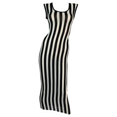 F/W 1993 Gianni Versace Black & White Vertical Stripes Sheer Silk Long Dress